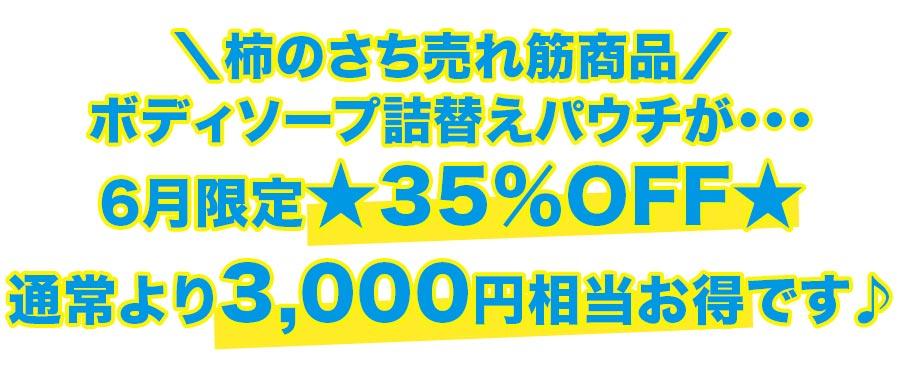 ボディソープパウチ詰替えパウチが6月限定★35%OFF★